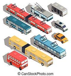 Set of vector isometric illustrations of municipal city transport