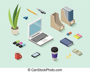 Set of vector isometric office items, stationery icons
