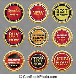 Set of vector labels