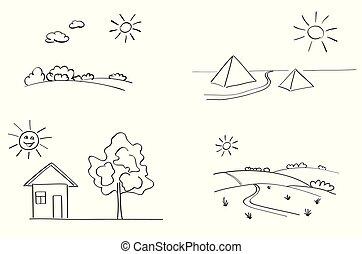 set of vector landscapes - illustration