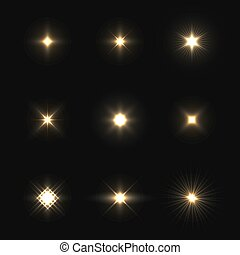 Set of vector lens flares isolated on black background.