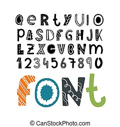 Set of vector letters and digits cartoon style. Comic alphabet template for a