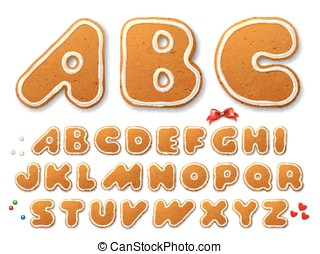 Set of vector letters in shape of a Christmas gingerbread cookies