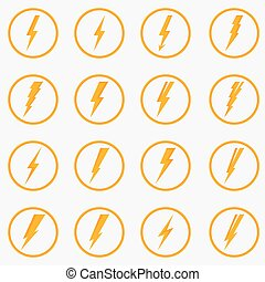 Set of vector lightning icons