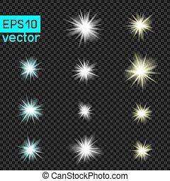 set of vector lights on transparent