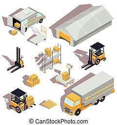Set of vector logistic and delivery isometric icons