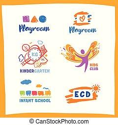 Set of vector logo child club, development center on white backg