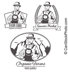 Set of vector logo with farmer.