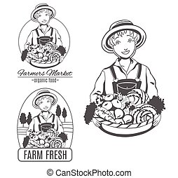 Set of vector logo with farmer woman.