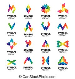 set of vector logos abstract modules