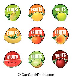 Set of vector logos fruit, natural product