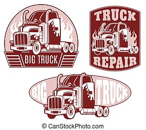 Set of vector logos. Truck repair.