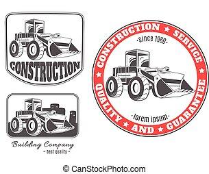 Set of vector logos with bulldozer.