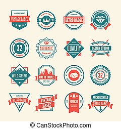 Set of vector logotypes elements, labels, badges and silhouettes