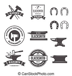 Set of vector logotypes elements, labels, badges and silhouettes for blacksmith