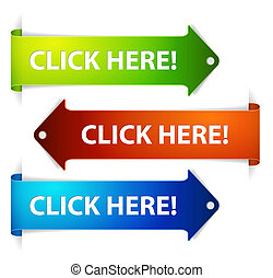 Set of vector long horizontal colorful arrows with a text click here!