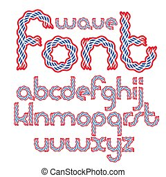 Set of vector lower case rounded English alphabet letters isolated created using abstract rhythmic wave lines.