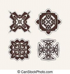 Set of vector mandala symbols. Gothic lace tattoo. Celtic weave with sharp corners.