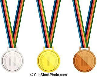 Set of vector medals. Gold, silver and bronze medal with Laurel wreath. Isolated on white background.