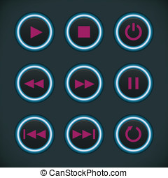 Media Audio Player Buttons