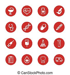 Set of vector medical icons and research