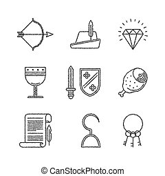 Set of vector medieval icons in sketch style