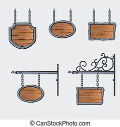 medieval wood sign - set of vector medieval wood sign...