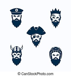 Set of Vector Men Face Silhouettes. Bearded Faces of Warrior, Captain, Pirate, King and Biker. Abstract Emblems, Sport Team Signs or Logo Templates.