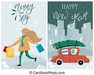 Set of Vector Merry Christmas and Happy New Year greeting card. A man in a red car driven Christmas tree home. Christmas shopping. girl with paper bags with gifts in their hands.