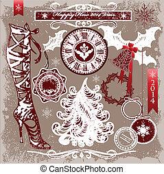 Set of vector Merry Christmas