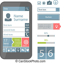 Mobile flat UI elements - Set of Vector Mobile flat UI ...
