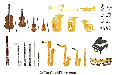 Set of vector modern flat design orchestra instruments