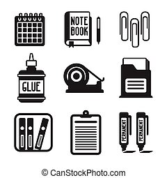 Set of vector monochrome office icons in flat style