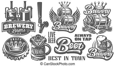 Set of vector monochrome patterns on the theme of beer and brewing