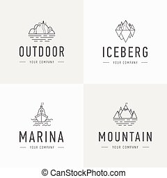 Set of vector mountain and outdoor adventures logo. Tourism, hiking and camping labels. Mountains and travel icons for tourism organizations, outdoor events and camping leisure. Iceberg, shep.