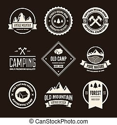 Set of vector mountain and outdoor adventures logo. Tourism, hiking and camping labels.
