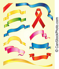 Set of vector multicolored ribbons