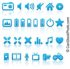 Set of vector multimedia web button