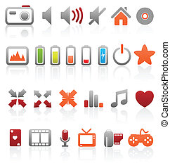 Set of vector multimedia web buttons, icons. Audio, video. photo, battery, volume and other.