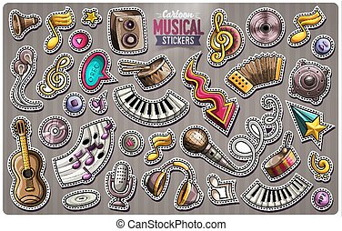 Set of vector Music cartoon stickers
