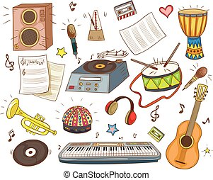 Set of vector music instruments for music school. Piano, guitar, drum.