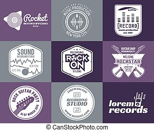 Set of vector music production logo Musical label icons....