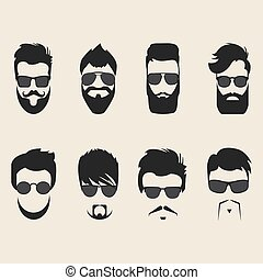 Set of vector mustache