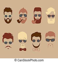 Set of vector mustache