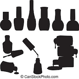 Set of 10 vector nail polish bottles silhouettes.