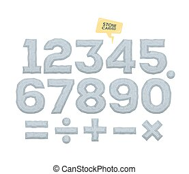 Set of vector numbers and mathematical signs. Volumetric elements with bevel.