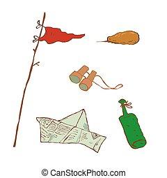 Set of vector objects, binoculars, bottle, stone