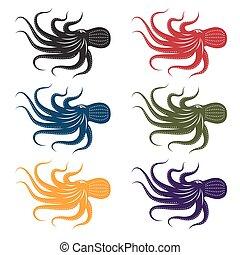 set of vector octopus