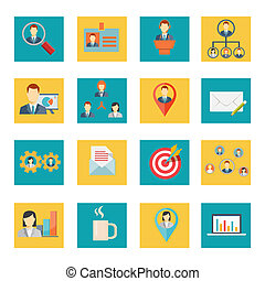 Set of vector office and business icons
