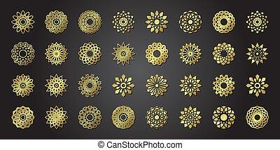 set of vector ornamental flowers in oriental style